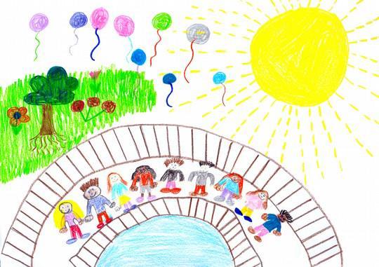 Kinderzeichnung mit Kindern auf einer Brücke in bunter Landschaft